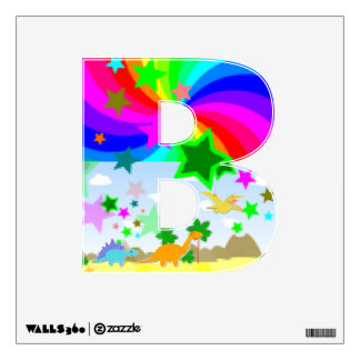 Cute Dinosaurs in Pixel Land Letter B Alphabet Wall Decal