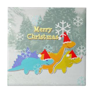 Cute Dinosaurs Merry Christmas Tile