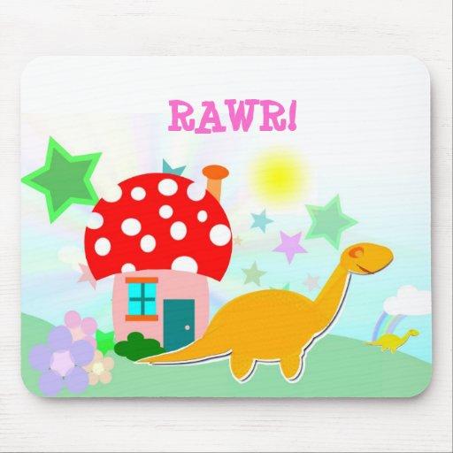 Cute Dinosaurs & Mushroom House Kids Mousepad