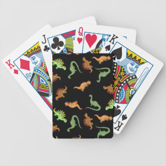 Cute Dinosaurs on Black Background Bicycle Playing Cards