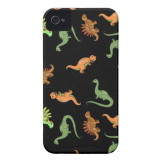 Cute Dinosaurs on Black Background Case-Mate iPhone 4 Case