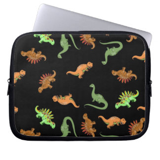 Cute Dinosaurs on Black Background Computer Sleeve