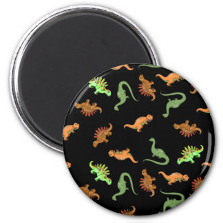 Cute Dinosaurs on Black Background Magnet