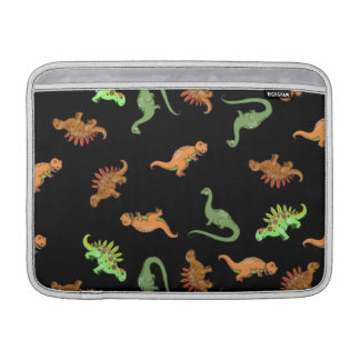 Cute Dinosaurs on Black Background Sleeve For MacBook Air