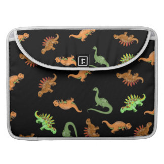 Cute Dinosaurs on Black Background Sleeve For MacBook Pro