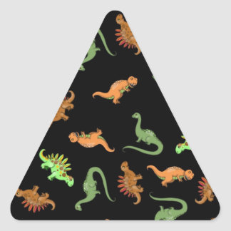 Cute Dinosaurs on Black Background Triangle Sticker