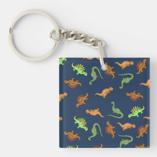 Cute Dinosaurs Pattern Double-Sided Square Acrylic Keychain