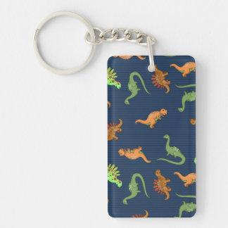 Cute Dinosaurs Pattern Single-Sided Rectangular Acrylic Keychain