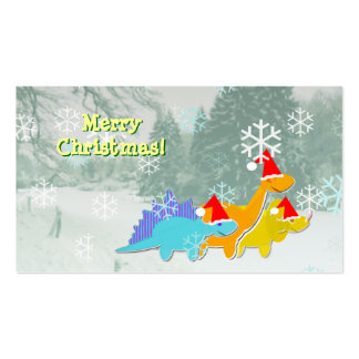 Cute Dinosaurs Small Christmas Greetings Cards Business Card Template