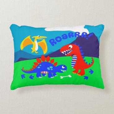 adamfahey Cute dinosaurs standing on a hill accent pillow