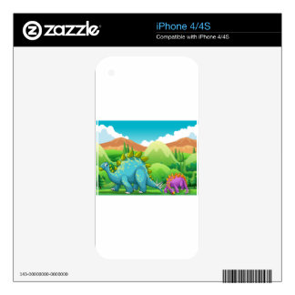 Cute dinosaurs walking in the field iPhone 4S decal