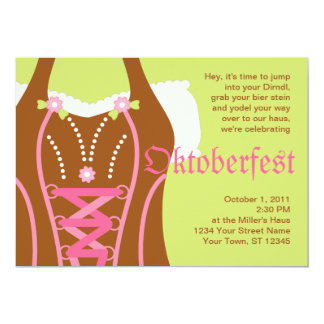 "Cute Dirndl Corsage Oktoberfest Invitation 5"" X 7"" Invitation Card"