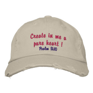 Cute distressed hat for ladies pure heart verse! embroidered baseball caps