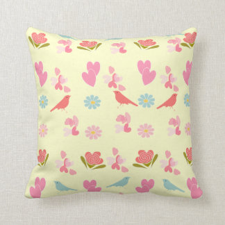 Cute Ditsy Birds Hearts and Flowers Print Throw Pillow
