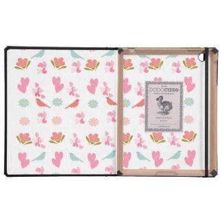 Cute Ditsy Flowers, Birds and Sweet Love Hearts iPad Folio Cases