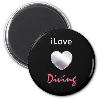 Cute Diving 2 Inch Round Magnet