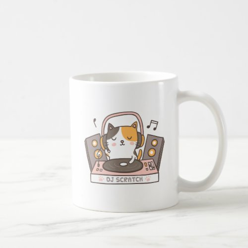 Cute DJ Scratch Kitty Cat Pun Mug