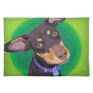 Cute Doberman Mix Dog on a Green Background Cloth Placemat