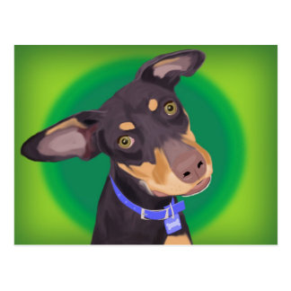 Cute Doberman Mix Dog on a Green Background Postcard