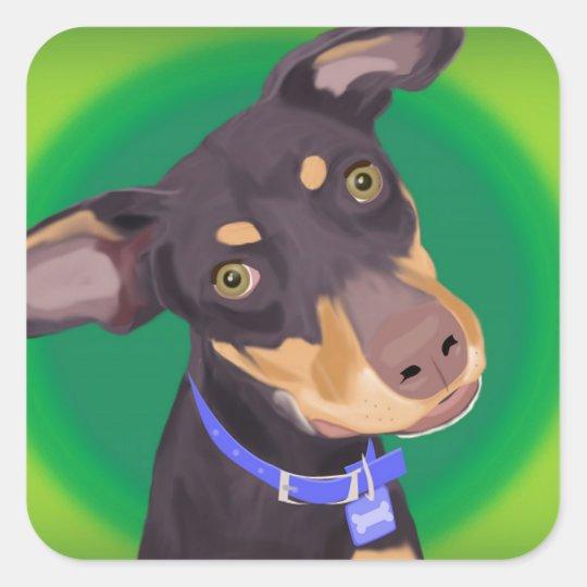 Cute Doberman Mix Dog on a Green Background Square Sticker