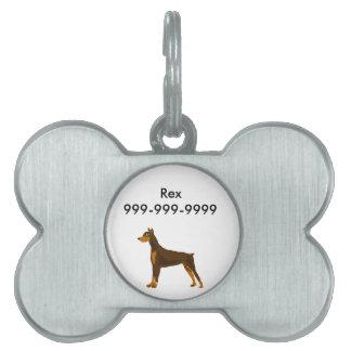 Cute Doberman Pinscher Art Design Pet Name Tag