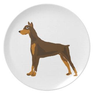 Cute Doberman Pinscher Art Design Plate