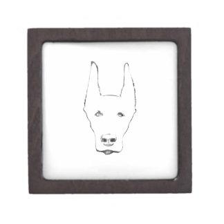 Cute Doberman Pinscher Dog Face Sketch Keepsake Box