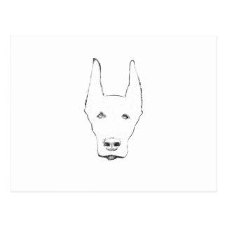 Cute Doberman Pinscher Dog Face Sketch Postcard