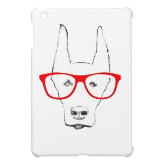 Cute Doberman Pinscher Dog Face w Spectacle Sketch iPad Mini Covers