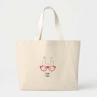 Cute Doberman Pinscher Dog Face w Spectacle Sketch Large Tote Bag