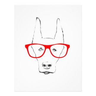 Cute Doberman Pinscher Dog Face w Spectacle Sketch Letterhead