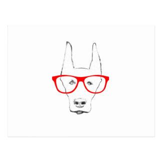Cute Doberman Pinscher Dog Face w Spectacle Sketch Postcard