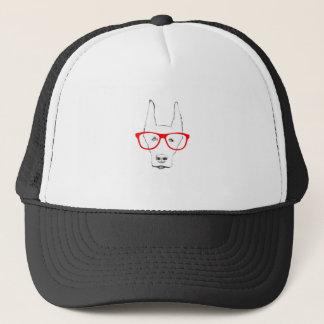 Cute Doberman Pinscher Dog Face w Spectacle Sketch Trucker Hat