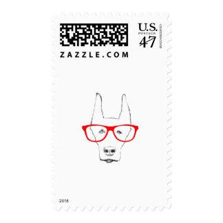 Cute Doberman Pinscher Dog Face w Spectacle Stamp