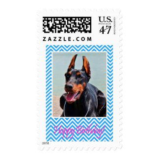 Cute Doberman Pinscher dog Happy Birthday Postage