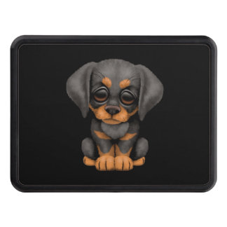 Cute Doberman Pinscher Puppy Dog on Black Hitch Cover
