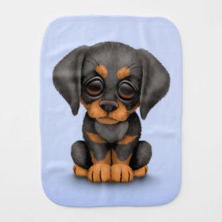 Cute Doberman Pinscher Puppy Dog on Blue Burp Cloth