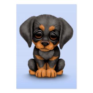 Cute Doberman Pinscher Puppy Dog on Blue Business Card Template