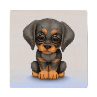 Cute Doberman Pinscher Puppy Dog on Blue Wooden Coaster