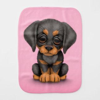 Cute Doberman Pinscher Puppy Dog on Pink Burp Cloth