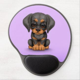 Cute Doberman Pinscher Puppy Dog on Purple Gel Mouse Pad