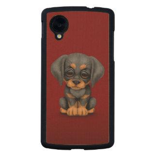 Cute Doberman Pinscher Puppy Dog on Red Carved® Maple Nexus 5 Slim Case