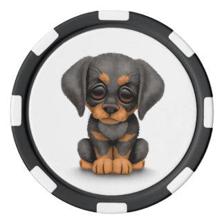 Cute Doberman Pinscher Puppy Dog on White Set Of Poker Chips