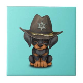 Cute Doberman Puppy Dog Sheriff Ceramic Tile