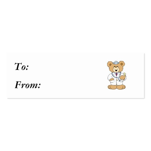 Cute Doctor Teddy Bear Double-Sided Mini Business Cards (Pack Of 20)