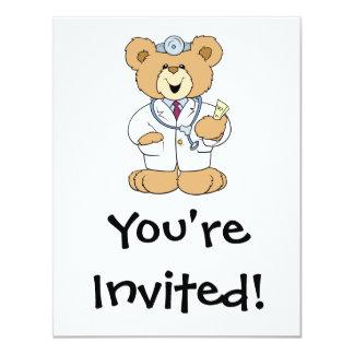 Cute Doctor Teddy Bear 4.25x5.5 Paper Invitation Card