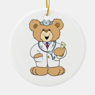 Cute Doctor Teddy Bear Double-Sided Ceramic Round Christmas Ornament