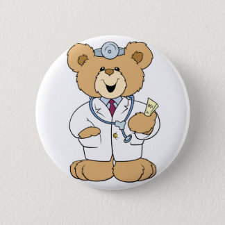 Cute Doctor Teddy Bear Pinback Button