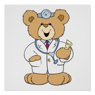 Cute Doctor Teddy Bear Poster