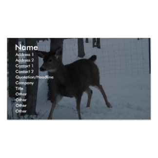 Cute Doe Deer Walking In The Heavy Snow Near Trees Double-Sided Standard Business Cards (Pack Of 100)
